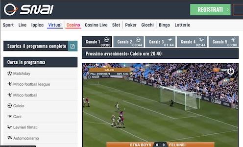 palinsesto snai calcio virtual